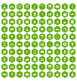 100 hotel icons hexagon green vector image vector image