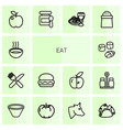 14 eat icons vector image vector image