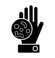 bacteria hand icon black vector image