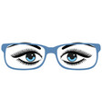 beautiful womens blue eyes with glasses vector image