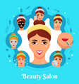 beauty salon cosmetic procedures composition vector image