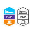 bed and breakfast logo for hotel service or hostel vector image