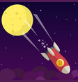 bitcoin falls down from the moon vector image vector image