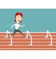 Business woman running and overcoming barriers vector image