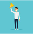 businessman character celebrates his victory flat vector image vector image