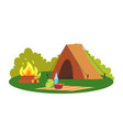camping place nature environment tent and bonfire vector image vector image