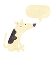cartoon dog with speech bubble vector image vector image