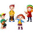 cartoon kids playing music together vector image