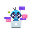 chat bot cute cartoon robot with artificial vector image vector image