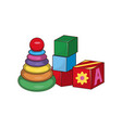 children s pyramid cubes first baconstructors vector image
