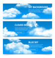 cloudy sky banners realistic clouds weather vector image
