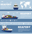 commercial sea shipping flyer template set vector image vector image