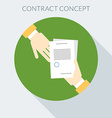 Contract concept Hand giving document to other vector image
