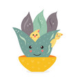 cute cactus and birds vector image vector image