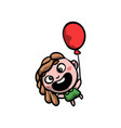 cute funny girl in green dress with red balloon vector image vector image