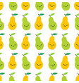 cute pears seamless pattern in cartoon style vector image vector image