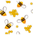 cute seamless pattern with flying bees and honey vector image vector image
