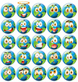 Earth with facial expression vector image vector image