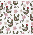 easter seamless pattern with chicken vector image vector image