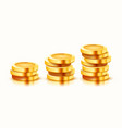 growing stack golden coins isolated on white vector image vector image