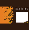 halloween pumpkin and bat greeting card vector image vector image