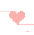 hand painted red heart one line hand drawing of vector image vector image