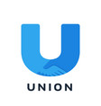 handshake u-shaped logo union concept teamwork vector image
