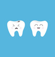 healthy smiling tooth icon crying bad ill teeth vector image
