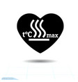 heart black icon love symbol hot surface warning vector image vector image