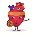 heart character with basketball ball healthcare vector image vector image