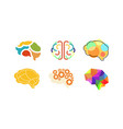 human brain set thinking or mind bright sign vector image vector image