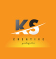 ks k s letter modern logo design with yellow vector image vector image