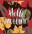 lettering design with abstract autumn background vector image vector image