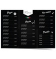 menu design for pizza and pasta on black vector image vector image