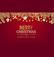 merry christmas card with fir tree red background vector image vector image