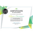 official white certificate with green triangle vector image vector image
