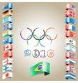 olympic flags rings rio vector image vector image