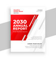 professional red annual report brochure template vector image vector image