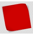 Red paper sticker over transparent background vector image vector image