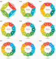 set of colorful infographic templates with circle vector image