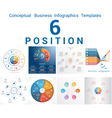 Set Templates Infographics positions 6 vector image vector image