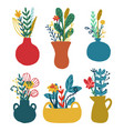 set vases with floral bouquets vector image
