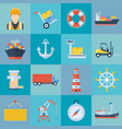 ship port icon set vector image vector image