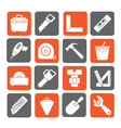 Silhouette Construction objects and tools icons vector image vector image