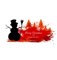 Snowman in Christmas Snowflakes Background vector image