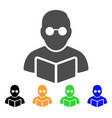 student read book flat icon vector image vector image