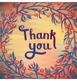 THANK YOU floral card with geometric pattern vector image vector image
