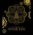 vesak day card gold lotus flower and buddha vector image vector image