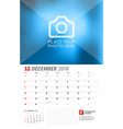 wall calendar planner for 2018 year december vector image vector image