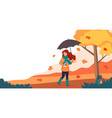woman with umbrella and coffee in autumn cute vector image vector image